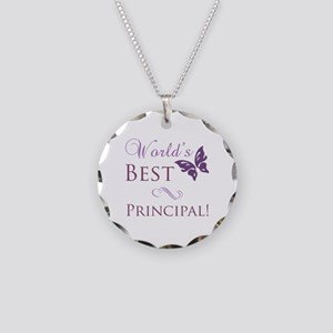 World's Best Principal Necklace Circle Charm