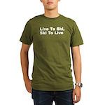 Live to Ski Organic Men's T-Shirt (dark)