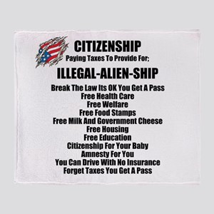 ILLEGAL-ALIEN-SHIP Throw Blanket