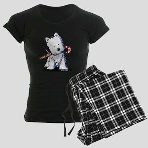 Candy Cane Westie Women's Dark Pajamas