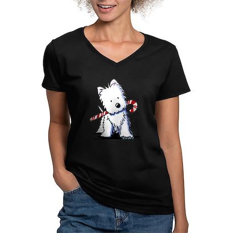 Candy Cane Westie Women's V-Neck Dark T-Shirt