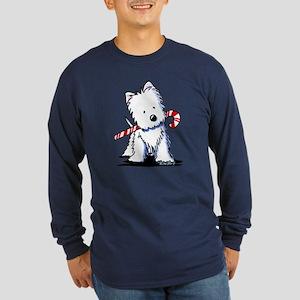 Candy Cane Westie Long Sleeve Dark T-Shirt