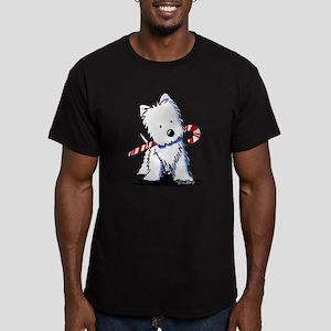 Candy Cane Westie Men's Fitted T-Shirt (dark)