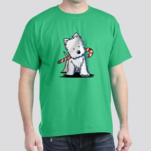 Candy Cane Westie Dark T-Shirt