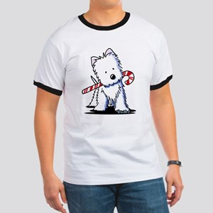 Candy Cane Westie Ringer T