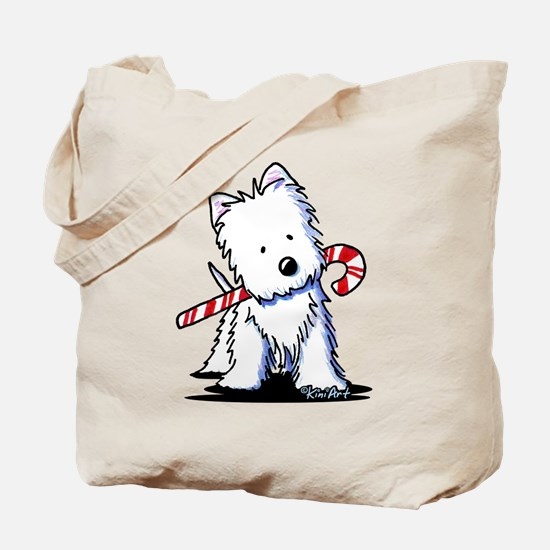 Candy Cane Westie Tote Bag