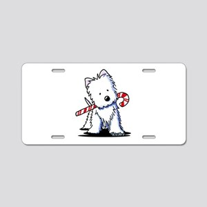 Candy Cane Westie Aluminum License Plate