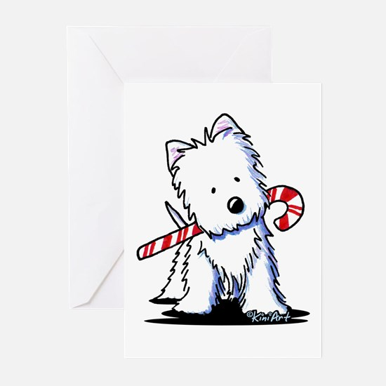 Candy Cane Westie Greeting Cards (Pk of 20)