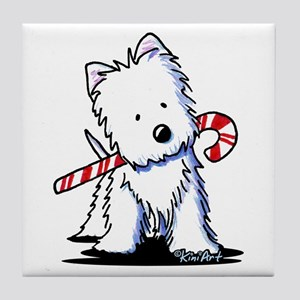 Candy Cane Westie Tile Coaster