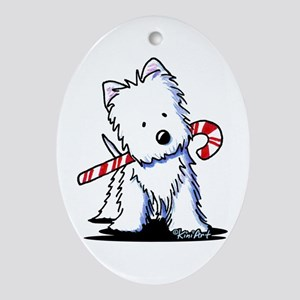 Candy Cane Westie Ornament (Oval)