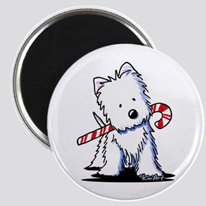 Candy Cane Westie Magnet
