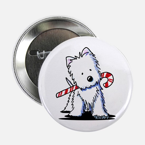 "Candy Cane Westie 2.25"" Button"