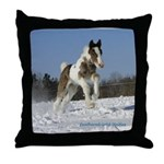 Foal Playing in Snow Throw Pillow