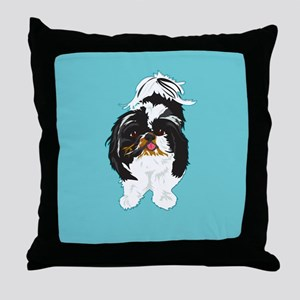 Shitzu BLUE Throw Pillow