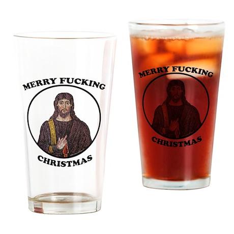 Merry F-ing Christmas-light Drinking Glass