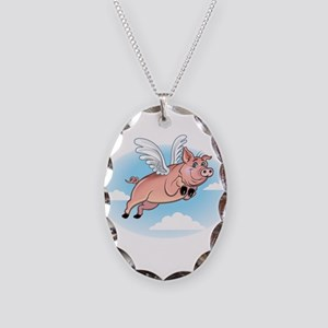When Pigs Fly Happy Piggy Necklace Oval Charm
