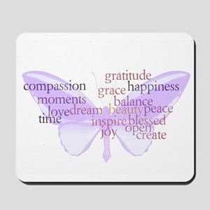 Peace and Gratitude Butterfly Mousepad