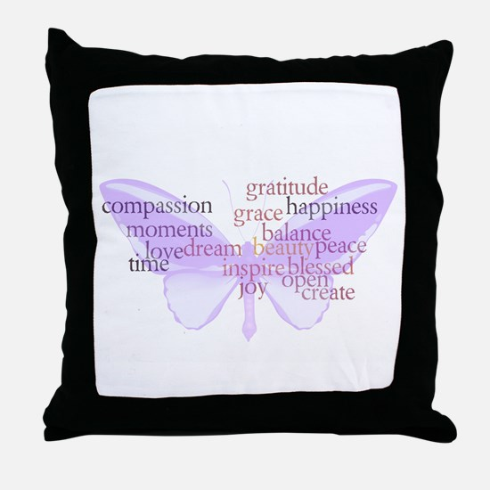 Peace and Gratitude Butterfly Throw Pillow