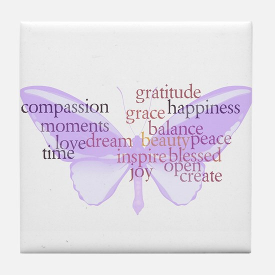 Peace and Gratitude Butterfly Tile Coaster