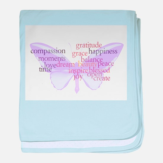 Peace and Gratitude Butterfly baby blanket