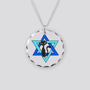 Jewish Cat Stars Necklace Circle Charm