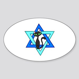 Jewish Cat Stars Sticker (Oval)