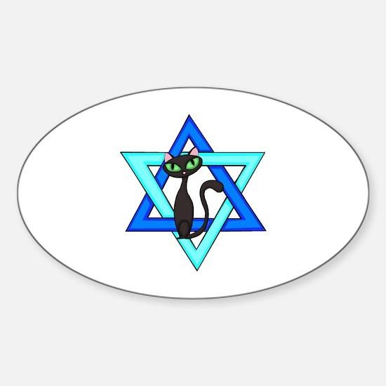 Jewish Cat Stars Sticker (Oval)