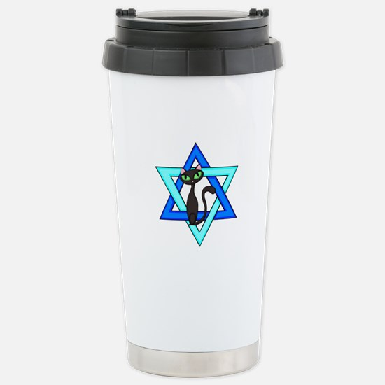 Jewish Cat Stars Stainless Steel Travel Mug