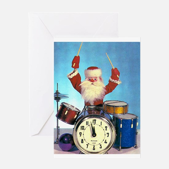 Santa Claus Drummer Greeting Card