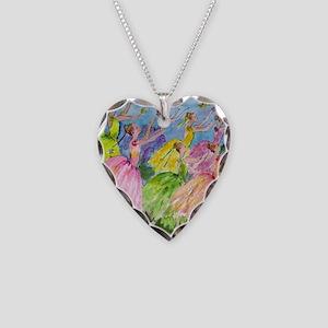 Nutcracker Dancers Necklace Heart Charm