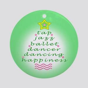 Green Dancers Christmas Tree Ornament (Round)