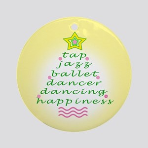 Yellow Dancers Christmas Tree Ornament (Round)