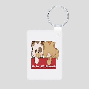 Pets Not Disposable Aluminum Photo Keychain