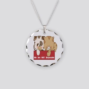Pets Not Disposable Necklace Circle Charm