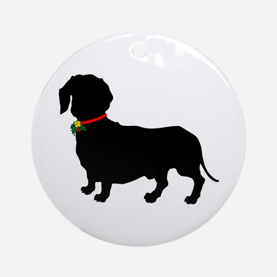 Christmas or Holiday Dachshund Silhouette Ornament