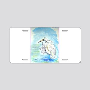 Egret, beautiful, bird, art, Aluminum License Plat