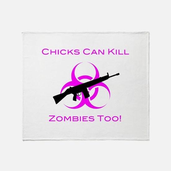 Zombie Chicks Throw Blanket