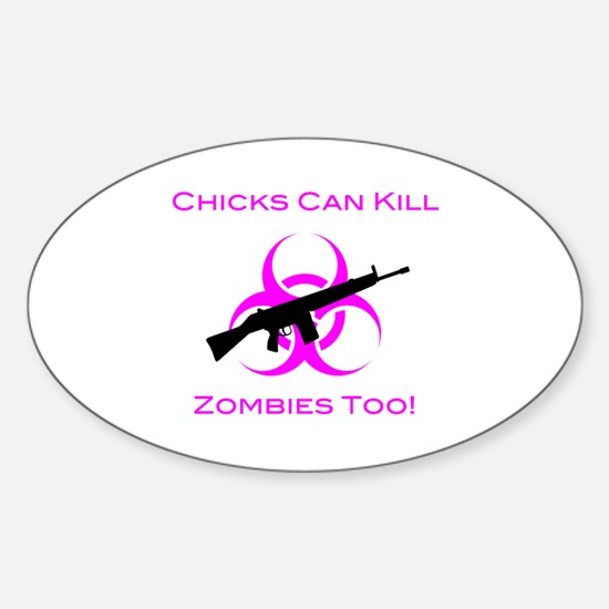 Zombie Chicks Sticker (Oval)