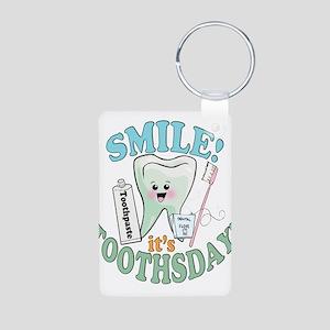 Smile It's Toothsday! Aluminum Photo Keychain