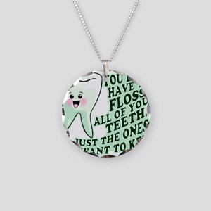 Funny Dental Hygiene Necklace Circle Charm