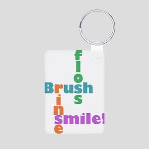 Brush Floss Rinse Smile Aluminum Photo Keychain