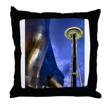 Space Needle & EMP Throw Pillow