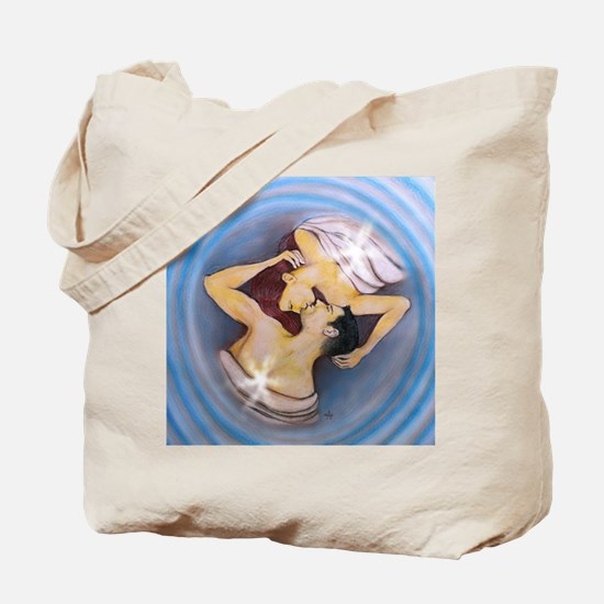 Twin Flames Kiss in Balance Tote Bag
