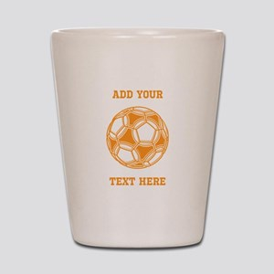 Soccer Ball. Orange with Text Shot Glass