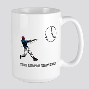 Baseball Player with Custom T Large Mug