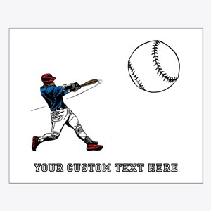 Baseball Player with Custom T Small Poster