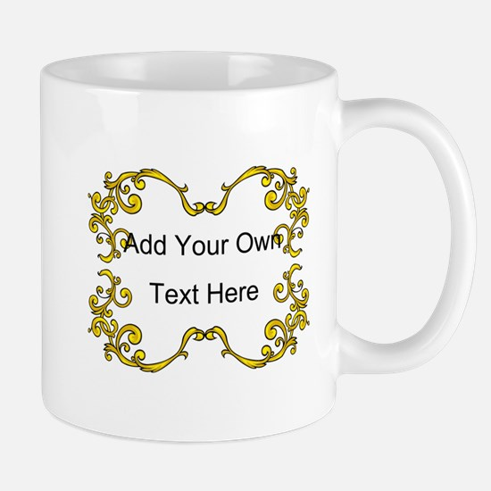 Gold Color Scrolls, Custom Te Mug