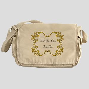 Gold Color Scrolls, Custom Te Messenger Bag