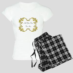Gold Color Scrolls, Custom Te Women's Light Pajama