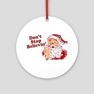 Don't Stop Believin' Santa Ornament (Round)